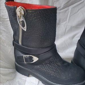 Mcm Moto black leather zipper boots